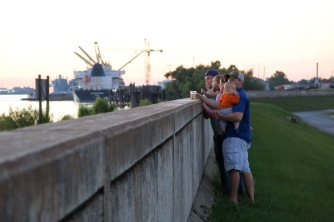 People hanging out on the levee